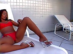Latina cutie with small breasts and nice ass gets fucked by a stiff black cock