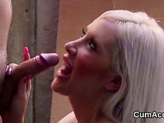 Hot stunner gets cumshot on her face sucking all the sperm26