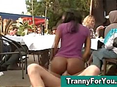 Black tranny sucks dick while getting fucked