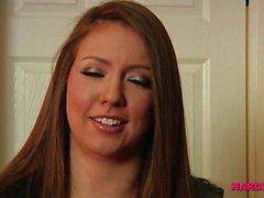 Girl-next-door enjoys blowbang