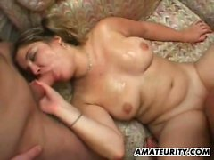 Slutty woman with pigtails hurts on several dicks and gets
