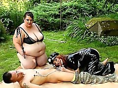 BBW dominatrices love threesome femdom sex