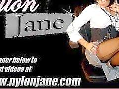 Slutty crossdresser cums in busty Milf Nylon Jane's face