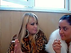 2 Russian Babes In Furs Smoking Not Inhaling
