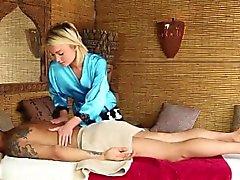 Blonde teen Kota Sky gives an Asian guy a great massage