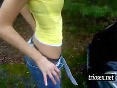 Amateur teen toying herself on the car