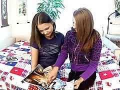 Cute teens experiment in lesbian play