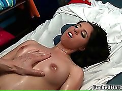 Adorable dark haired bimbo gets fat cock
