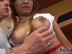 Asian schoolgirl Sisi pleasures a thick rod