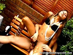 Superb brunette tranny girl Mina gets skinny body kissed