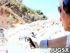 Guns and big tits with Angelina Ashe