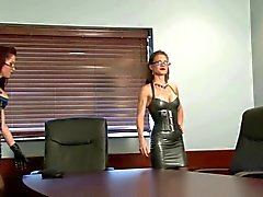Two Doms Milk Office Slave With Gloves
