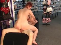 Redhead babe bends over to take this lovely cock from the backdoor in public