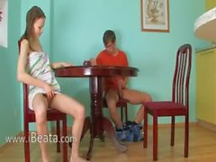 Horny thin girl banged on the table