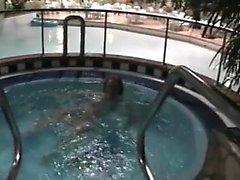 Milf has fun at swinger swimming resort
