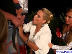 Urine drenched eurobabes fuck dude outdoor