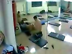 Fucking a lady in the gym spy cam