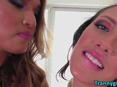 A TS lustful girls mouth kiss goodbye