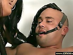 CFNM femdoms bind their sub before humiliation