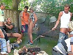Outdoor gay gang bang