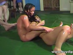 Oily swingers with two wrestling Thai women
