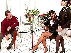 Two dark haired hotties in pantyhose having threesome with randy fella