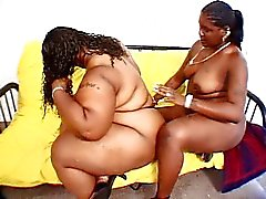 Ebony fat bitches wrenching the plastic cock