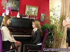 Glam clothed lez tasted