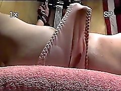Trailer trash sub - tied to the bench - close-up dildo pussy torture
