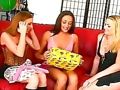 Three horny girls having fun with big dildo !