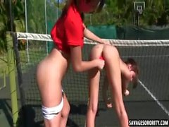 On the tennis court these hot jock sluts eat eachother out