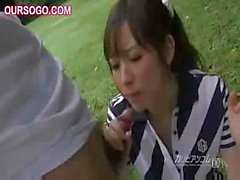 Asian gal decides to suck the dick while on the golf course