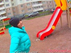 Pickedup euro babe gives bj on spycam