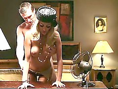 Classy chick bent over hotel dresser and fucked