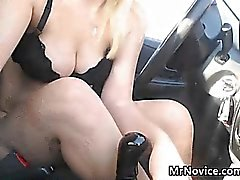 Blonde Girl Playing With Her Pussy In The Car