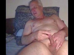 Silver daddy stroke it on cam