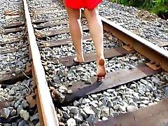 My wife barefoot railway walking