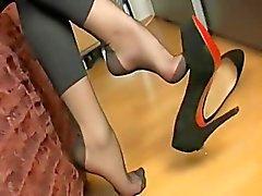 amatööri jalka fetissi nylon sukat