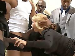 Huge boobs blonde babe gets dped by massive black cocks