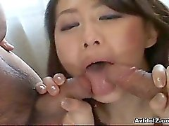 Hot Japanese babe take on two big cocks uncensored