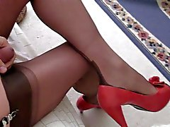 Red heels, ff stockings, cock, no cum, :(