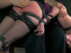 Hot raven haired GF in dark tights acquires her body tied and her kitty exploited