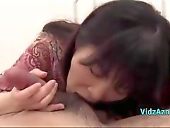 Asian Girl Giving Blowjob Cum To Mouth On The Bed