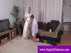 Dominatrix bride punishing husband