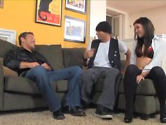 Two guys have fun with a schoolgirl