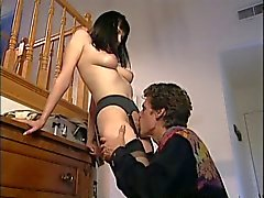 Black haired slut in stockings loves to ride on top of a big dick in her cunt