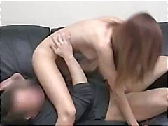 Brunette gets naked and sucks and fucks while being filmed