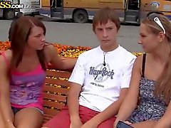 Two Girls PickUp Boy From Street