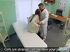 Fake doctor fucks a hot brunette babe