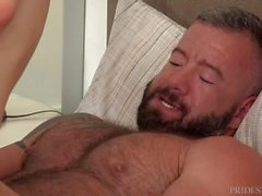 Cute Twink Watches Hairy Daddy Shower and gets Hard